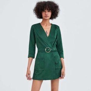 Zara green suede belter romper